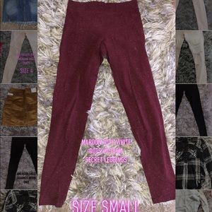 🎀maroon with white dot PINK leggings🎀